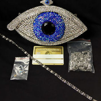 Las Vegas Crystal EVIL EYE Clutch Purse Hand Bag New Without Tags