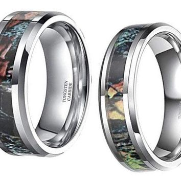 CERTIFIED Tungsten Camo Ring Sets for Couple Summer Leaves Camouflage Inlay Band