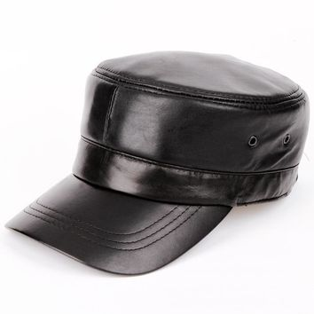 Trendy Winter Jacket 2017 men Genuine leather Baseball Cap Biker Trucker outdoor Sports snapback Hats For Army hat  AT_92_12