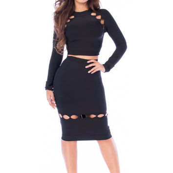 Two Piece Long Sleeve Cutout Bandage Dress