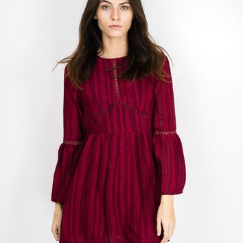 Lace Trim Bell Sleeve Dress