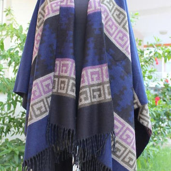 FREE SHIPPING ! Poncho Wool Navy Blanket Shawl Wrap Cape Navy Tribal Outerwear Brown Women Coat Aztec Poncho  cape-outwear