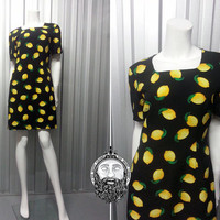 Vintage 90s Grunge Fruit Print Shift Dress Novelty Pattern Courtney Love Lemon Fabric Mini Length Womens Small Club Kid Short Sleeve