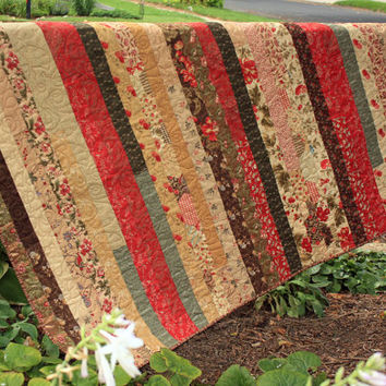 Striped Lap Quilt, Baby Quilt, Wallhanging in Moda Double Chocolate & French General Cotton Fabric, Deep Red, Brown, Tan Blanket, Sofa Throw