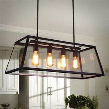 4 Head Industrial Chandelier LED Ceiling Light Modern Large Pendant Lamp for Kitchen Room AC110-220V