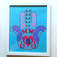 Hamsa Hand 8 x 10 Art Print For Home Decor