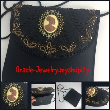 Vintage Beaded  Black cameo purse