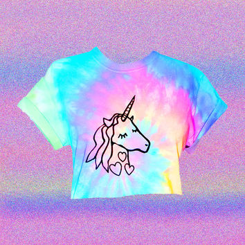 Unicorn Crop Top - Pastel Crop Top - Hand Dyed - Screen Printed Cropped Tee -  Unicorn Tears