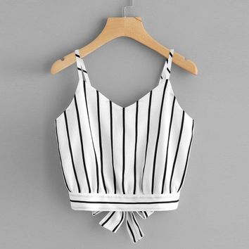 2019 Summer Women Tank Striped Tops Sexy Casual V Neck Striped Crop Tops Fashion Cami Camisole Female Camisas Mujer