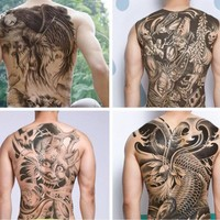 Large Black Carp Tattoos Men & Women Waterproof Big Temporary Tattoo Stickers Full Back Fake Tattoo YE#