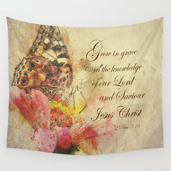 Vintage Butterfly; Grow in Grace Bible Verse Wall Tapestry by Quote Life Shop