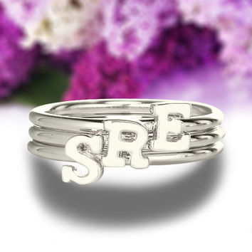 Sterling Silver Monogrammed Initial Ring Tiny Letter Ring Personalized Your Last Name Initial Ring Monogram Jewelry