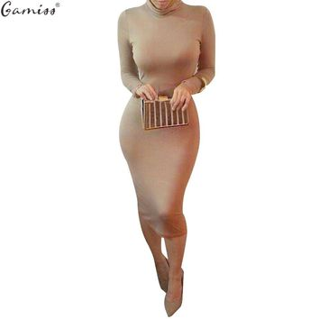 Gamiss Autumn Kim Kardashian Sexy Long Sleeve Pencil Women Bodycon Dress Plus Size Turtlenack Midi Bandage Party Dress Femme