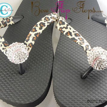 Leopard Baseball Softball Flip Flops Bling by BowFlipFlops on Etsy
