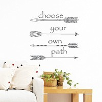 Wall Decals Quotes Vinyl Sticker Decal Art Home Decor Murals Quote Decal Symbol Quote Wall Decal Choose your own Path Arrows Hippster Fashion Bedroom AN357