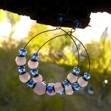 Rings earrings Beaded hoop earrings Glass beaded earrings Bronze Pink blue earrings Womens earrings Big hoop earrings Blue pink jewelry gift