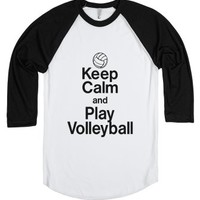 Keep calm and play volleyball-Unisex White/Black T-Shirt