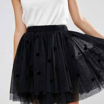 ASOS Mini Tulle Prom Skirt in Flocked Polka Dot at asos.com