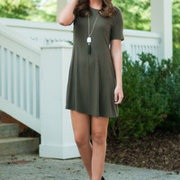 Simply Flared Dress, Olive