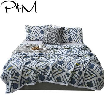 Papa&Mima Quilting Summer Quilt Twin Queen Size Japanese style Throws Blanket Cotton Bedding Plaid Bedspread