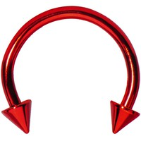 16 Gauge Red Titanium Spike Horseshoe Circular Barbell 3/8""