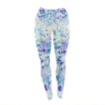 "Carolyn Greifeld ""Floral Fantasy Blue"" Purple White Yoga Leggings"