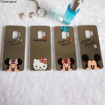 For Samsung S8 Note8 S9 Plus Phone Case Cartoon Mickey Minnie Hello kitty Mirror Case For iPhone X 8 7 6 6S Plus 5 5S 5SE Cover