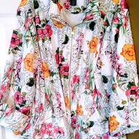 Style & Co  Funky  Floral Coat   Size XL  FREE SHIPPING!!