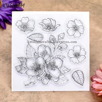 Flower Scrapbook DIY photo cards rubber stamp clear stamp transparent stamp 10.5x10.5m KW8021115