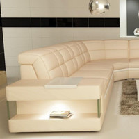 Moderna Cream and White Bonded Leather Sectional Sofa