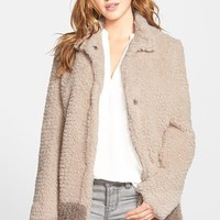 Women's Kenneth Cole New York 'Teddy Bear' Colorblock Faux Fur Coat ,