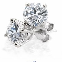 3/8 Ct. tw Diamond Stud Earrings in 14K White Gold (4-Prong,Round-Cut,H-I, I2-I3)