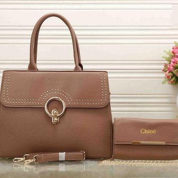 DCCKJ1A Chloe Stylish Ladies Elegant Leather Crossbody Shoulder Bag Satchel Handbag Two Piece Khaki I-XS-PJ-BB
