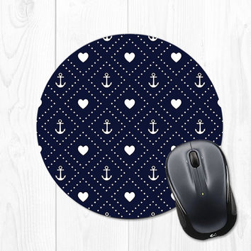 Navy Blue Mousepad - Navy Blue Anchor Mousepad - Navy Blue Heart Nautical Mousepad - Blue Mouse Pad - Anchor Mouse Pad - Nautical Mouse Pad