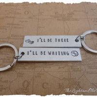 Long Distance Relationship Key Chain - There and Waiting - LDR - Long Distance Love - These make great gift ideas
