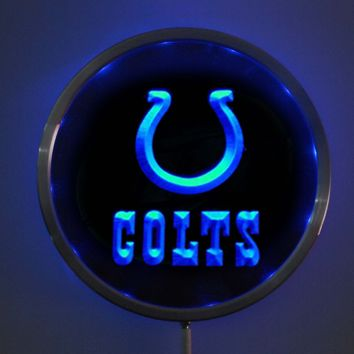 rs-b0044 Indianapolis Colts LED Neon Round Signs 25cm/ 10 Inch - Bar Sign with RGB Multi-Color Remote Wireless Control Function