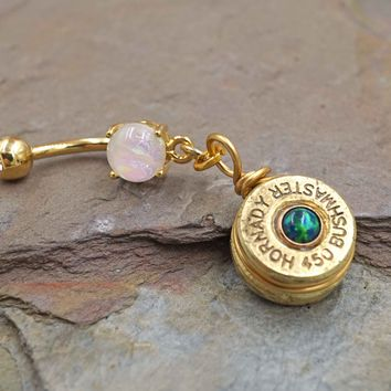 Brass Bullet with Opal Belly Button Ring