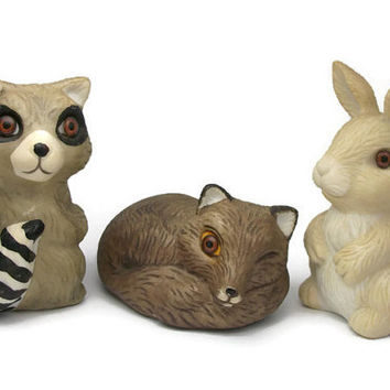 House of Lloyd Porcelain Raccoon Fox Bunny Rabbit Figurines - Three Woodland Baby Animal Collectibles Knick Knacks