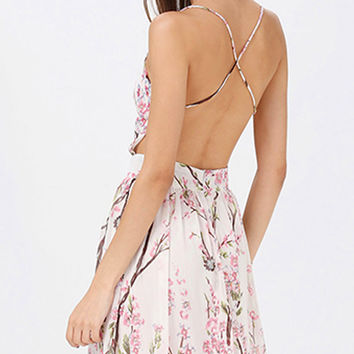 Cherry Blossom Sexy Backless Chiffon Maxi Dress. Spring Summer Pink Floral Dress
