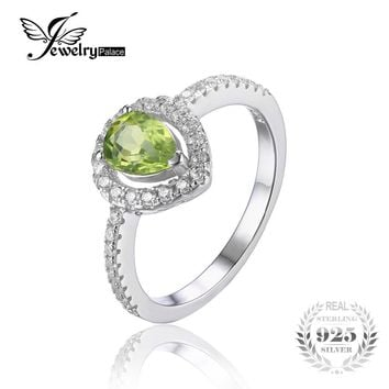 JewelryPalace Pear 0.8ct Natural Peridot 925 Sterling Silver Ring Statement Fine Jewelry  Engagement Party Rings for Women