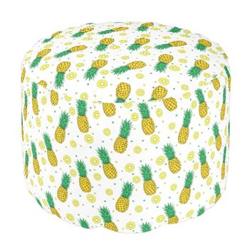 Pineapples pattern round pouf