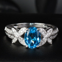 Oval Blue Topaz Engagement Ring Pave Diamond Wedding 14K White Gold 6x8mm Bowknot