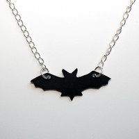 Handmade Halloween Flying Bat Necklace cut by hand by Morticias