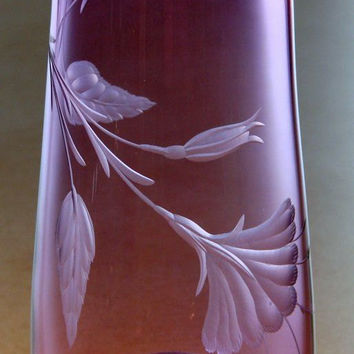 One of a kind-Hand Engraved- Hand Blown Vase. Lavender with Floral Fine Art. vase blown by Orbix Hot Glass engraved by Catherine.