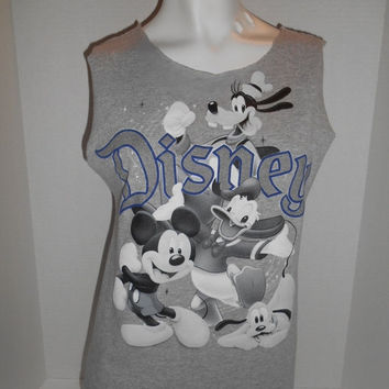 Vintage Clothing Online Disney  mickey mouse donald duck goofy pluto  Altered cut off tee T-shirt tee  tank top  clothing clothes