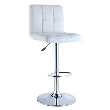 Powell White Quilted Faux Leather & Chrome Adjustable Height Bar Stool