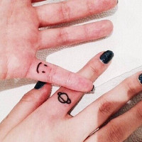 Smiley Face & Planet Temporary Tattoos