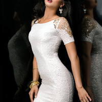 Scala 48355 - Ivory Short Sleeve Sequin Short Homecoming Dresses Online