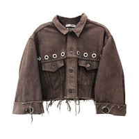 EYELET FRAYED DENIM JACKET - M.Y.O.B NYC ONLINE STORE