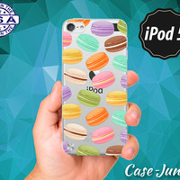 Macaron Cookie Color Pattern French Macaroon Cute Food Rubber Transparent Crystal Clear Custom Case For iPod Touch 5th Generation Gen